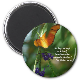Orange Butterfly-with quote Magnet