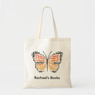 Orange Butterfly Word Art Library Tote Bag