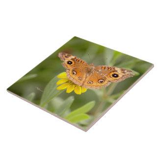 Orange butterfly Yellow flower Tile