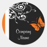 Orange Butterly Flourish Sticker