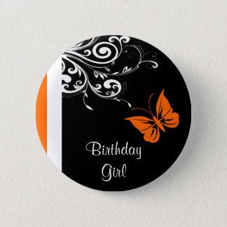 Orange Butterly Swirls Button