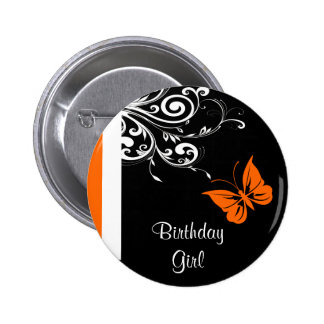 Orange Butterly Swirls Pinback Buttons
