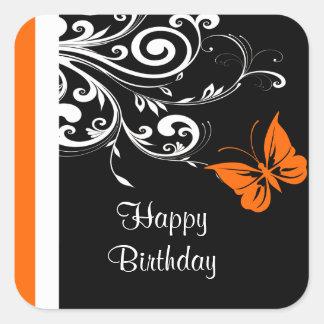 Orange Butterly Swirls Happy Birthday Square Sticker