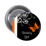 Orange Butterly Swirls Pinback Buttons