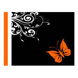Orange Butterly Swirls Postcards
