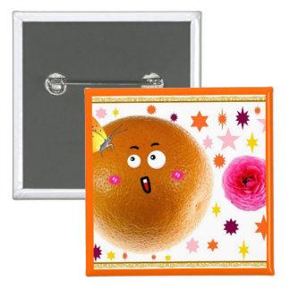 orange 2 inch square button