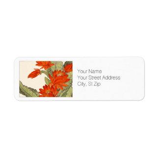 Orange Cactus Botanical Art Label