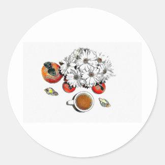 Orange Cafe Round Sticker
