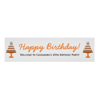 Orange Cake 40th Birthday Party Banner Poster