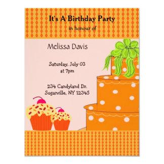Orange Cake and Cupcakes Birthday Invitation