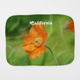 Orange California Poppy Baby Burp Cloth