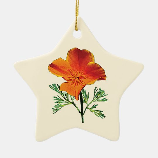 Orange California Poppy Ceramic Ornament