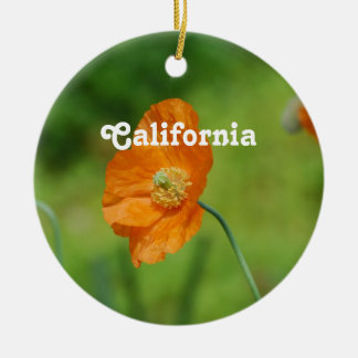 Orange California Poppy Ceramic Ornament