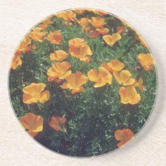Orange California Poppy (Eschscholzia Californica) Beverage Coaster