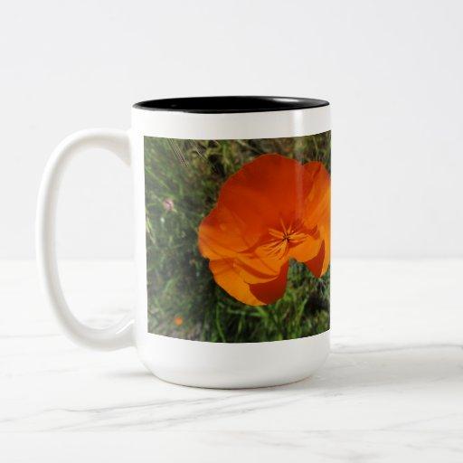 Orange California Poppy Flower Mugs