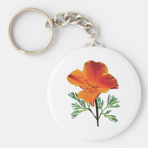 Orange California Poppy Key Chain
