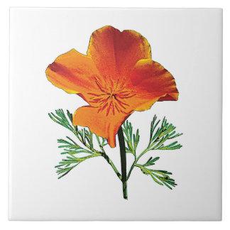Orange California Poppy Large Square Tile