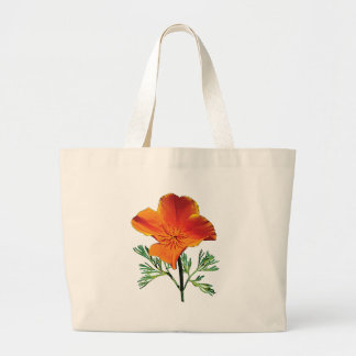 Orange California Poppy Large Tote Bag