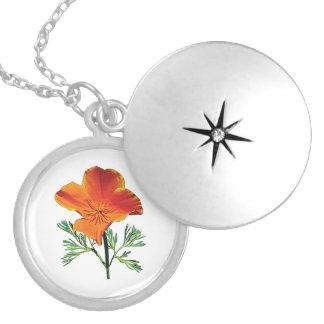 Orange California Poppy Locket Necklace