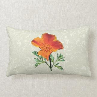 Orange California Poppy Lumbar Pillow