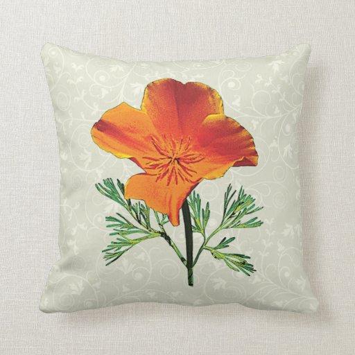 Orange California Poppy Pillow