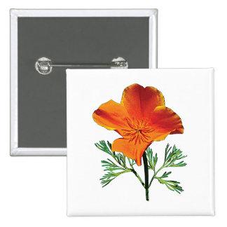 Orange California Poppy Pinback Button