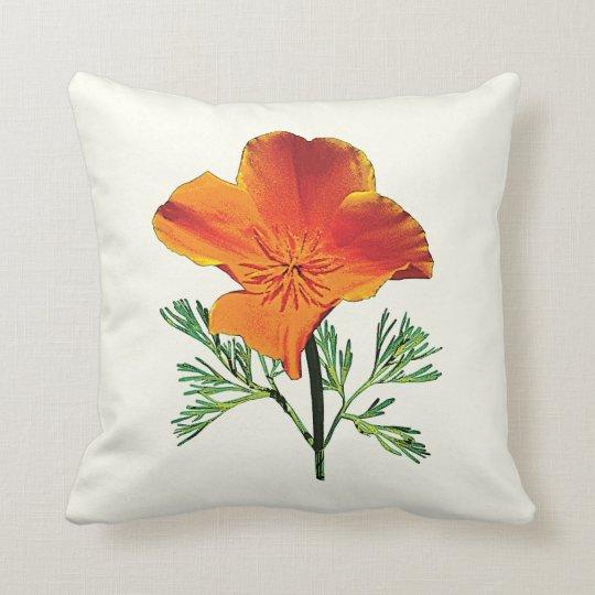 Orange California Poppy Throw Pillow