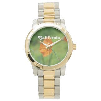 Orange California Poppy Wrist Watch