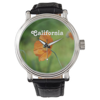 Orange California Poppy Wrist Watches