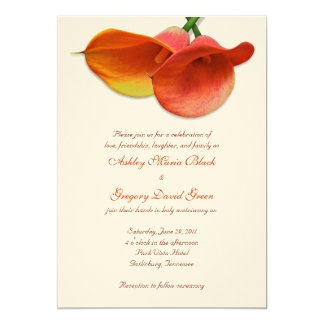 Orange Calla Lily Wedding Invitation