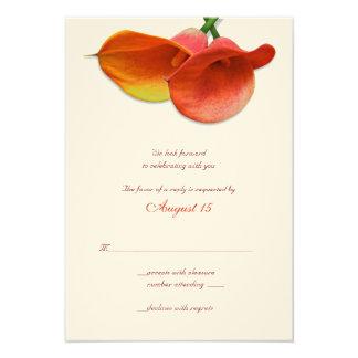 Orange Calla Lily Wedding Reply Card Custom Invites