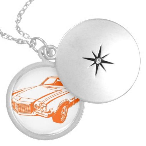 Orange Camaro Round Locket Necklace