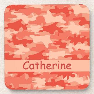 Orange Camo Camouflage Name Personalized Beverage Coaster