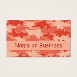 Orange Camo Camouflage Name Personalized Business Card