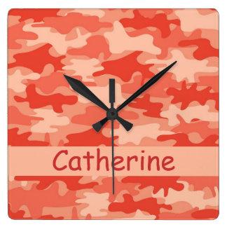 Orange Camo Camouflage Name Personalized Wall Clocks