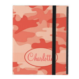Orange Camo Camouflage Name Personalized iPad Cover