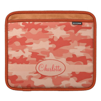 Orange Camo Camouflage Name Personalized Sleeves For iPads