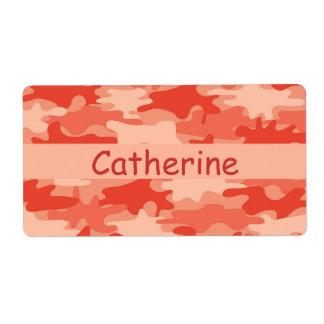 Orange Camo Camouflage Name Personalized Shipping Label