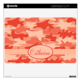 Orange Camo Camouflage Name Personalized MacBook Decal