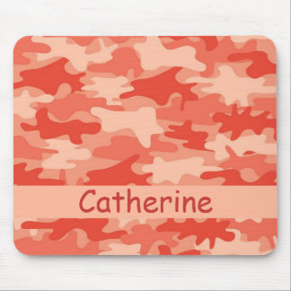 Orange Camo Camouflage Name Personalized Mouse Pad