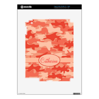 Orange Camo Camouflage Name Personalized Decal For iPad 2