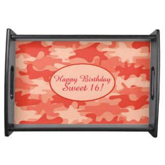 Orange Camo Camouflage Sweet 16 Happy Birthday Serving Tray