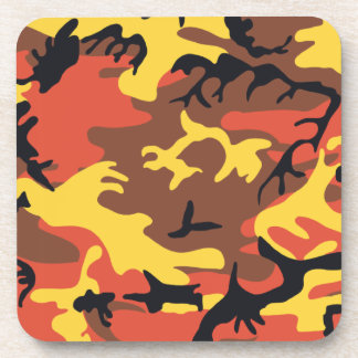 Orange Camouflage Cork Coaster