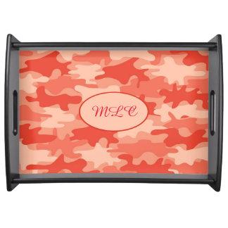 Orange Camouflage Monogram Initial Personalized Food Trays