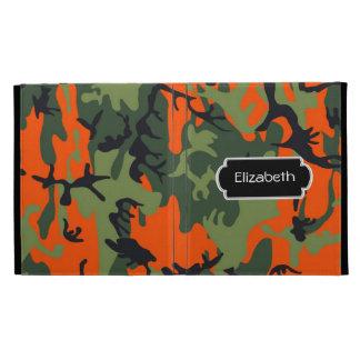 Orange Camouflage Monogram iPad Caseable Case iPad Folio Case