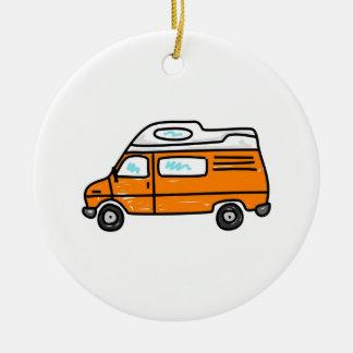 Orange Campervan Ceramic Ornament