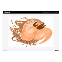 Orange Cancer Horoscope Crab Skin For Laptop