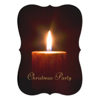 Orange Candle Christmas Party Invitation Template