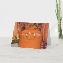 Orange Candle with Flames Card