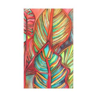 Orange Canna leaves watercolor original art Canvas Print